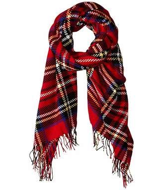Lauren Ralph Lauren Oversized Pattern Blanket Wrap (Red Stewart) Scarves