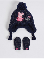 Marks and Spencer Kids' Peppa PigTM Hat & Mittens Set