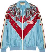 Gucci Paneled Embellished Shell Track Jacket - Blue