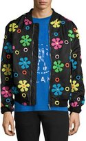 Moschino Embroidered Flower Bomber Jacket, Black