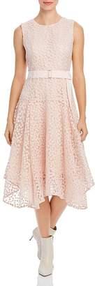 Calvin Klein Floral Embroidered Handkerchief Hem Dress