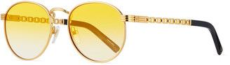 Vintage Frames Company Men's Equestrian Miami Vice Gold-Plated Round Sunglasses