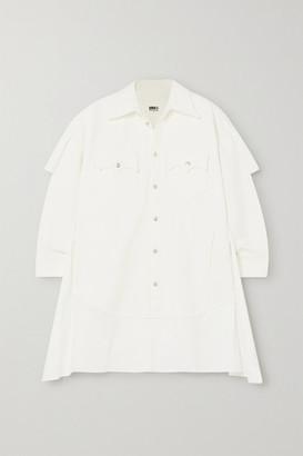 MM6 MAISON MARGIELA Paneled Denim And Cotton-poplin Shirt Dress - Off-white