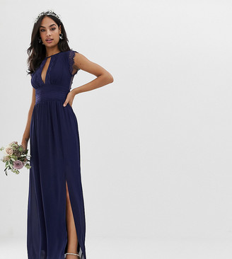 TFNC lace detail maxi bridesmaid dress in navy