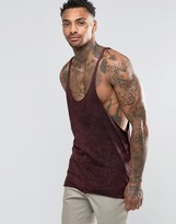 Asos Tank With Acid Wash And Raw Edge Extreme Racer Back