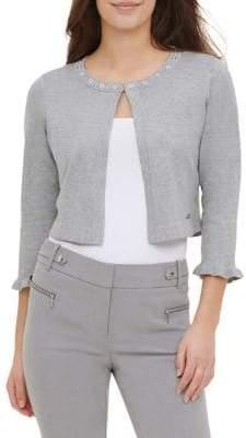 Calvin Klein Ruffle-Sleeve Knit Cardigan