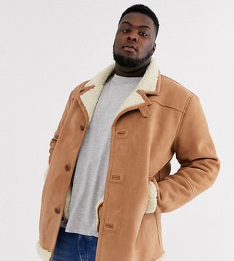 ASOS DESIGN Plus jacket in faux suede tan with ecru teddy lining