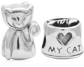 Rhona Sutton 4 Kids Children's Love My Cat Bead Charms - Set of 2 in Sterling Silver