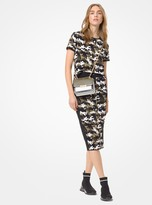 MICHAEL Michael Kors Camouflage Stretch-Viscose Jacquard T-Shirt
