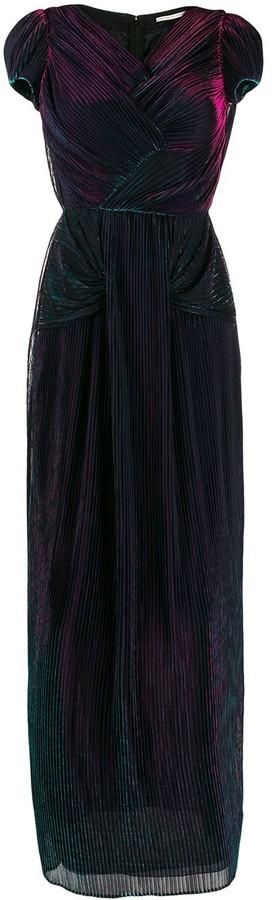 Marco De Vincenzo Metallic Sheen Pleated Dress