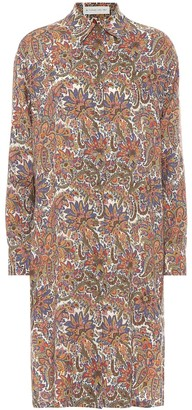 Etro Printed wool and silk shirt dress