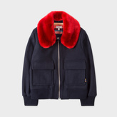 Paul Smith Girls' 8-14 Years Navy Wool-Blend Jacket With Faux-Fur Collar