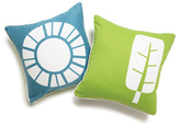 World in Teal Throw Pillow