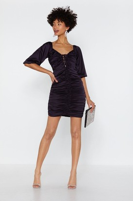 Nasty Gal Womens Feeling Ruched Satin Dress - Violet