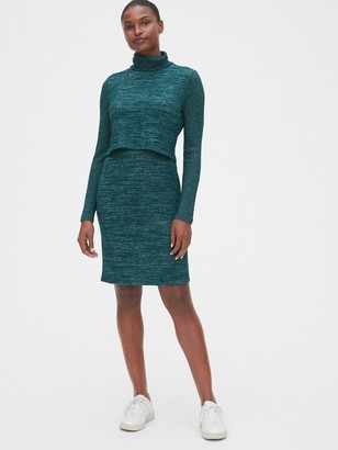 Gap Maternity Softspun Layered Nursing Turtleneck Dress