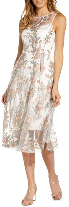 Adrianna Papell Floral Embroidery Flared Dress