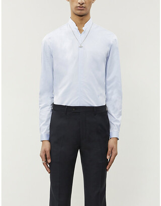 The Kooples Logo-embroidered cotton-twill shirt