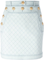 Balmain quilted denim mini skirt