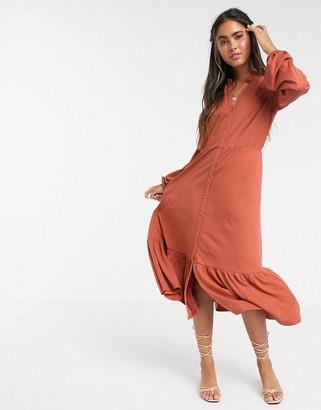 Y.A.S v neck button down midi dress with peplum hem in orange