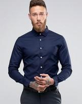 Asos Smart Skinny Oxford Shirt In Navy