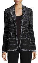 Misook Fancy Fringe Striped Jacket, Black, Petite