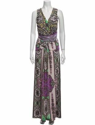 Etro Paisley Print Long Dress Purple