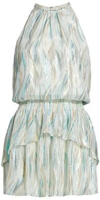 Ramy Brook Silk & Lurex Halterneck Blouson Dress