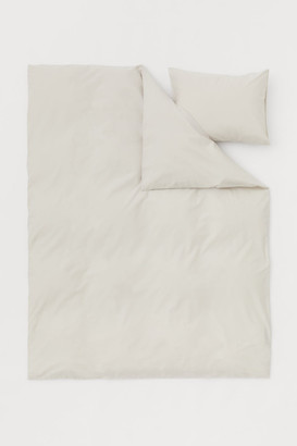 H&M Cotton Duvet Cover Set - Beige