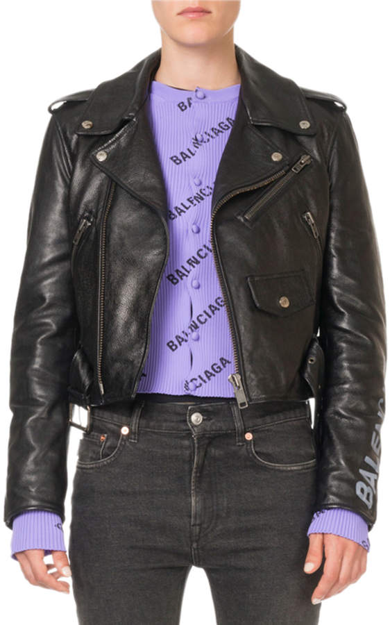 Balenciaga Bull-Leather Biker Jacket