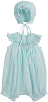 Luli & Me Smocked Bubble Romper with Bonnet, Size 6-18 Months