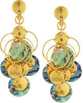 Jose & Maria Barrera Golden Abalone Disc Chandelier Earrings