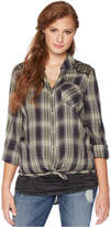 Wendy Bellissimo Maternity Sequined Plaid Shirt