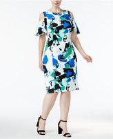Calvin Klein Plus Size Cold-Shoulder Sheath Dress