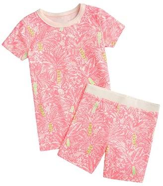 crewcuts by J.Crew Short Sleeve Sleep Set Palm Print (Little Kids/Big Kids) (Ivory/Pink) Girl's Pajama Sets