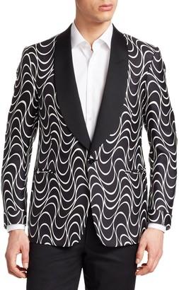 Ralph Lauren Optical-Print Silk One-Button Jacket