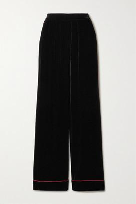 Dolce & Gabbana Piped Velvet Wide-leg Pants - Black