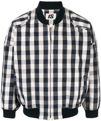 Issey Miyake Pre Owned 1980's Sports Line logo checked bomber