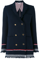 Thom Browne double breasted blazer - women - Silk/Cotton - 38