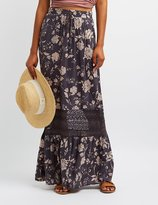 Charlotte Russe Floral Lace-Trim Maxi Skirt