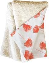Deny Designs Little Arrow Design Co Woven Fan Palm Orange Fleece Throw Blanket