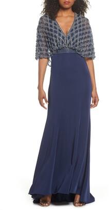 Mac Duggal Beaded Cape Overlay Gown