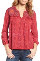 Lucky Brand Women's Embroidered Yoke Print Top