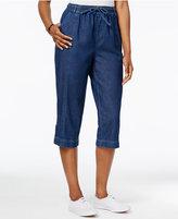 Karen Scott Denim Drawstring Capri Pants, Only at Macy's