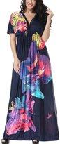 Moonpin Women's Elegant Bohemia Floral Print Maxi Holiday Dress Plus Size XXL