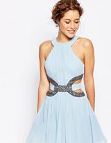 Little Mistress Petite High Neck Skater Mini Dress With Embellished Cutout