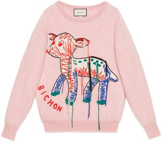 Gucci Mohair sweater with fawn intarsia