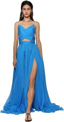 Ingie Paris Silk Chiffon Maxi Dress W/ Cut Out