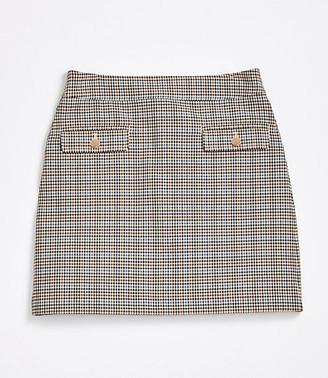 LOFT Petite Checked Pocket Shift Skirt