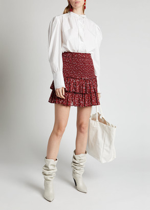 Etoile Isabel Marant Naomi Cotton Floral Tiered Mini Skirt