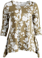 Glam Green & White Floral Sidetail Tunic - Plus